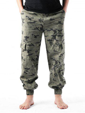 Fancy Camouflage Print Multi-pockets Narrow Feet Cargo Pants