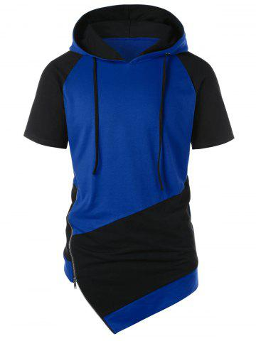 Outfits Asymmetrical Color Block Side Zipper Hoodie