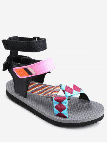Affordable Leisure Beach Ankle Strap Color Block Sandals