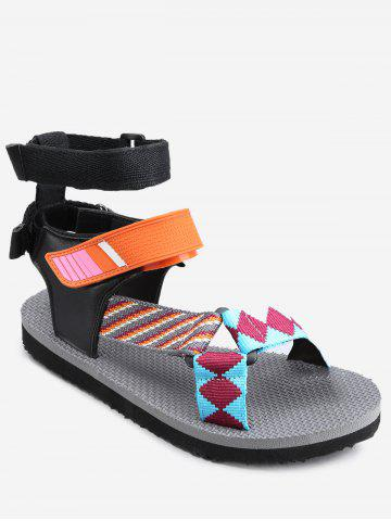 Fancy Leisure Beach Ankle Strap Color Block Sandals