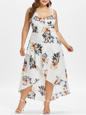 Store Plus Size Floral Overlap Hawaiian Dress