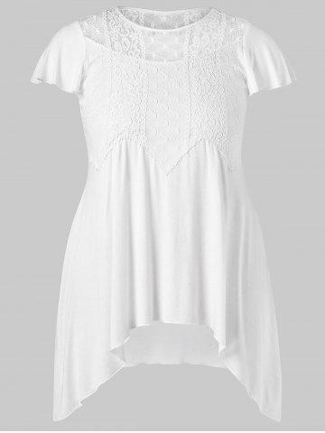 Cheap Plus Size Lace Trim Crescent Hem T-shirt