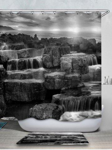 New Rock Printed Waterproof Shower Curtain with Flannel Rug