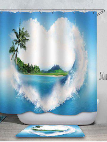 Fancy Love Heart Island Waterproof Shower Curtain and Flannel Rug