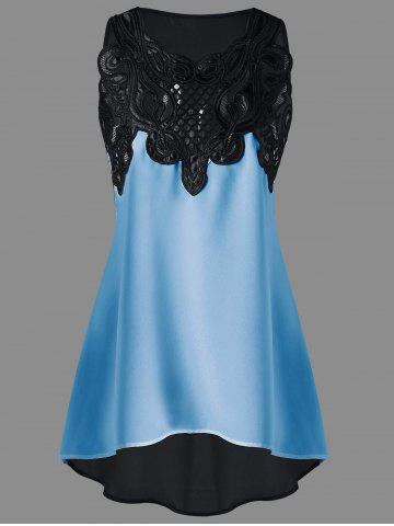 Cheap Lace Embroidered High-low Sleeveless Top