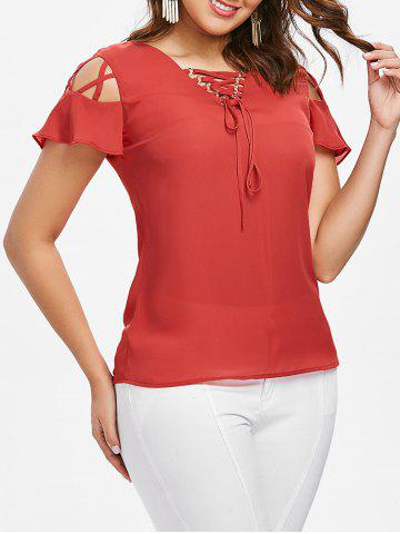 Criss Cross Cut Out Short Sleeve Blouse - Fire Engine Red - Xl