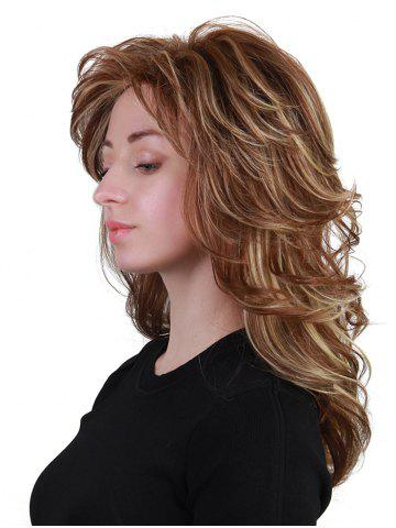 Sale Long Oblique Bang Layered Colormix Slightly Curly Human Hair Wig