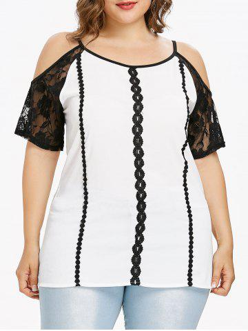 Chic Plus Size Lace Insert Cold Shoulder Blouse