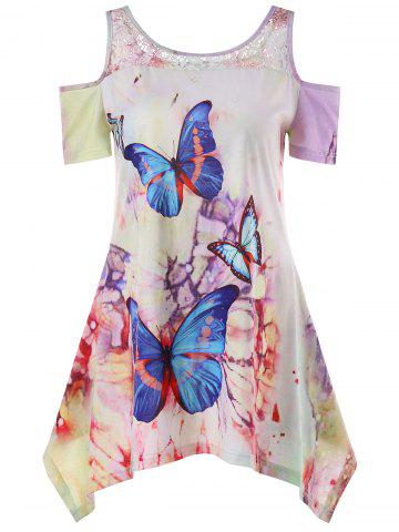 Discount Cold Shoulder Butterfly Print T-shirt