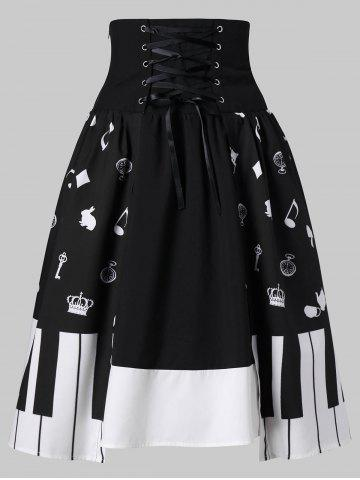 Sale Piano Key Print High Waist Skirt
