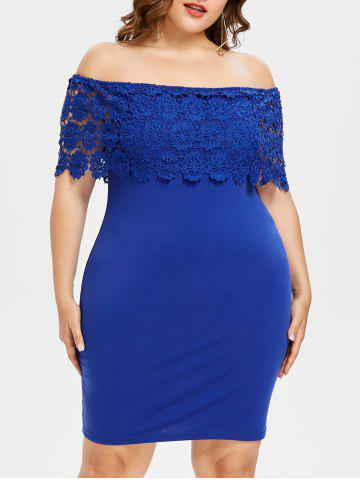Cheap Plus Size Crochet Off Shoulder Dress