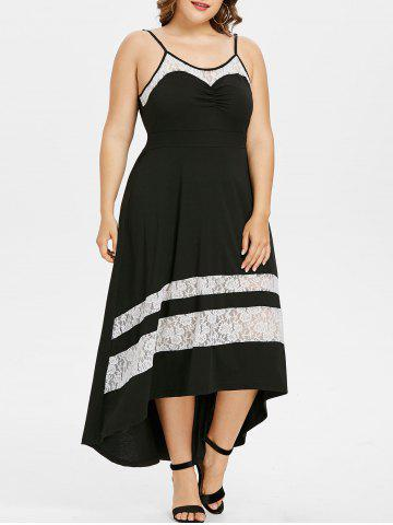 Trendy Plus Size Lace High Low Slip Dress