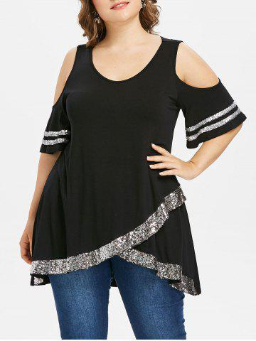 Outfit Cold Shoulder Plus Size Sequin Insert Top