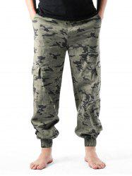 Camouflage Print Multi-pockets Narrow Feet Cargo Pants -