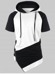 Asymmetrical Color Block Side Zipper Hoodie -
