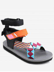 Leisure Beach Ankle Strap Color Block Sandals -