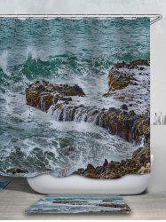 Sea Stone Printed Waterproof Shower Curtain with Flannel Rug -