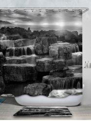Rock Printed Waterproof Shower Curtain with Flannel Rug -