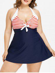 Plus Size Striped Halter Swimsuit -