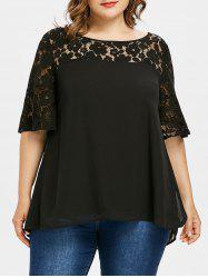 Plus Size Lace Yoke Bell Sleeve Blouse -
