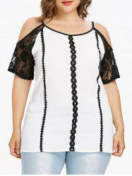 Plus Size Lace Insert Cold Shoulder Blouse -