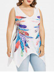 Plus Size V-neck Feather Print Tank Top -