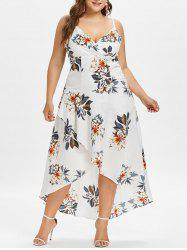 Plus Size Floral Overlap Hawaiian Dress -
