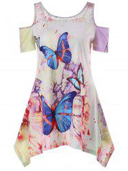 Cold Shoulder Butterfly Print T-shirt -