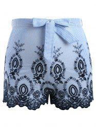 Plus Size Striped Embroidery Shorts With Tie Belt -