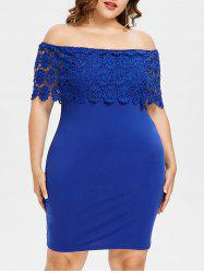 Plus Size Crochet Off Shoulder Dress -