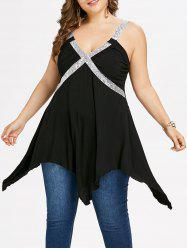 Plus Size V Neck Shimmery Handkerchief Tank Top -