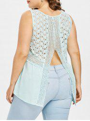 Plus Size Back Slit Broderie Anglaise Blouse -