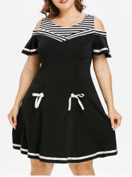 Plus Size Cold Shoulder Bell Sleeve Skater Dress -
