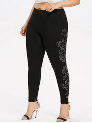 Plus Size Rhinestoned Vine Sides Leggings -