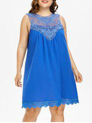 Plus Size Lace Sleeveless Tunic Dress -