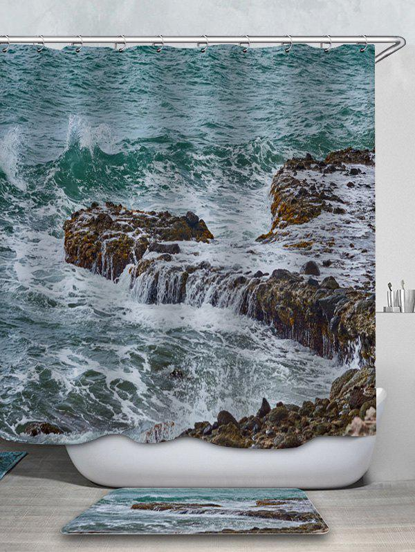 Best Sea Stone Printed Waterproof Shower Curtain with Flannel Rug