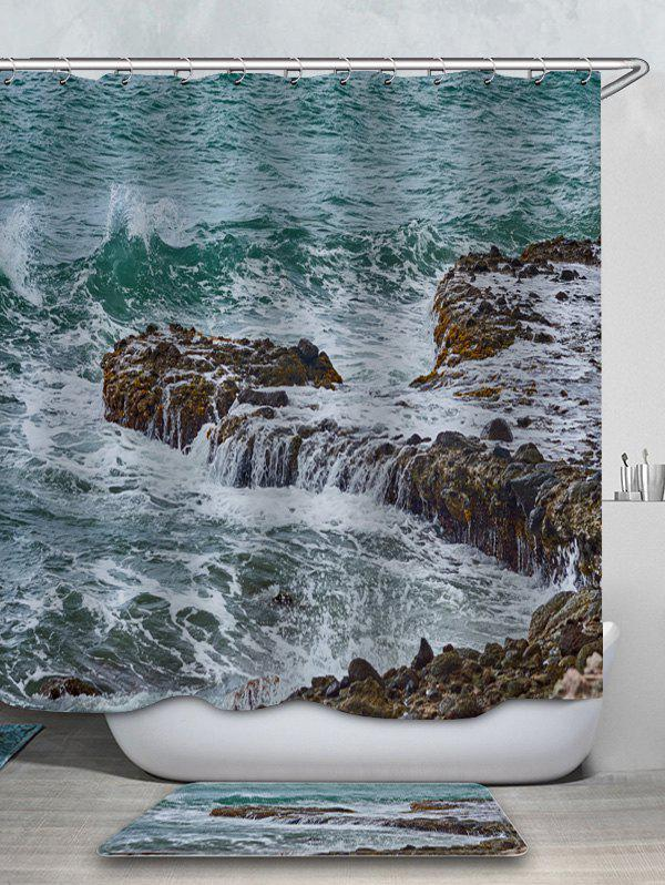 Latest Sea Stone Printed Waterproof Shower Curtain with Flannel Rug