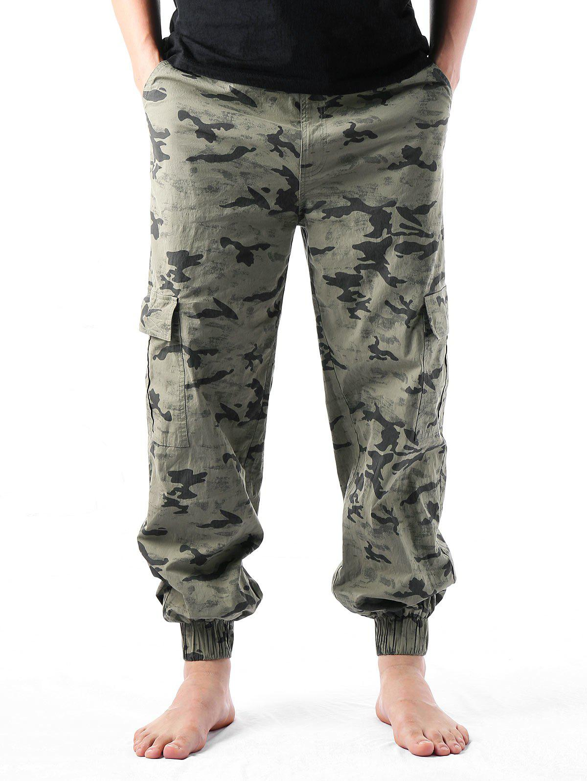 Outfit Camouflage Print Multi-pockets Narrow Feet Cargo Pants