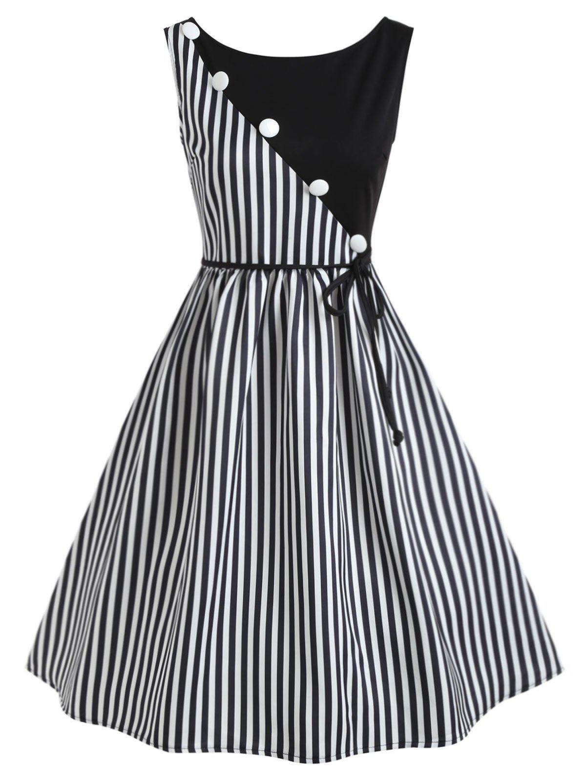 Buy Vertical Stripe Sleeveless Casual Dress