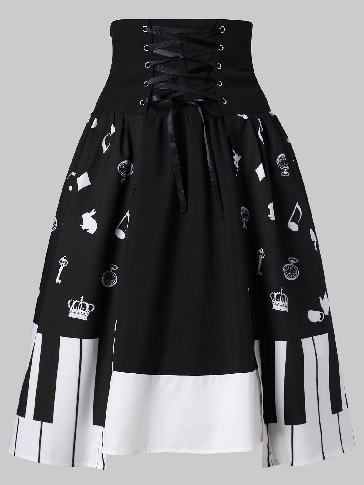 Online Piano Key Print High Waist Skirt