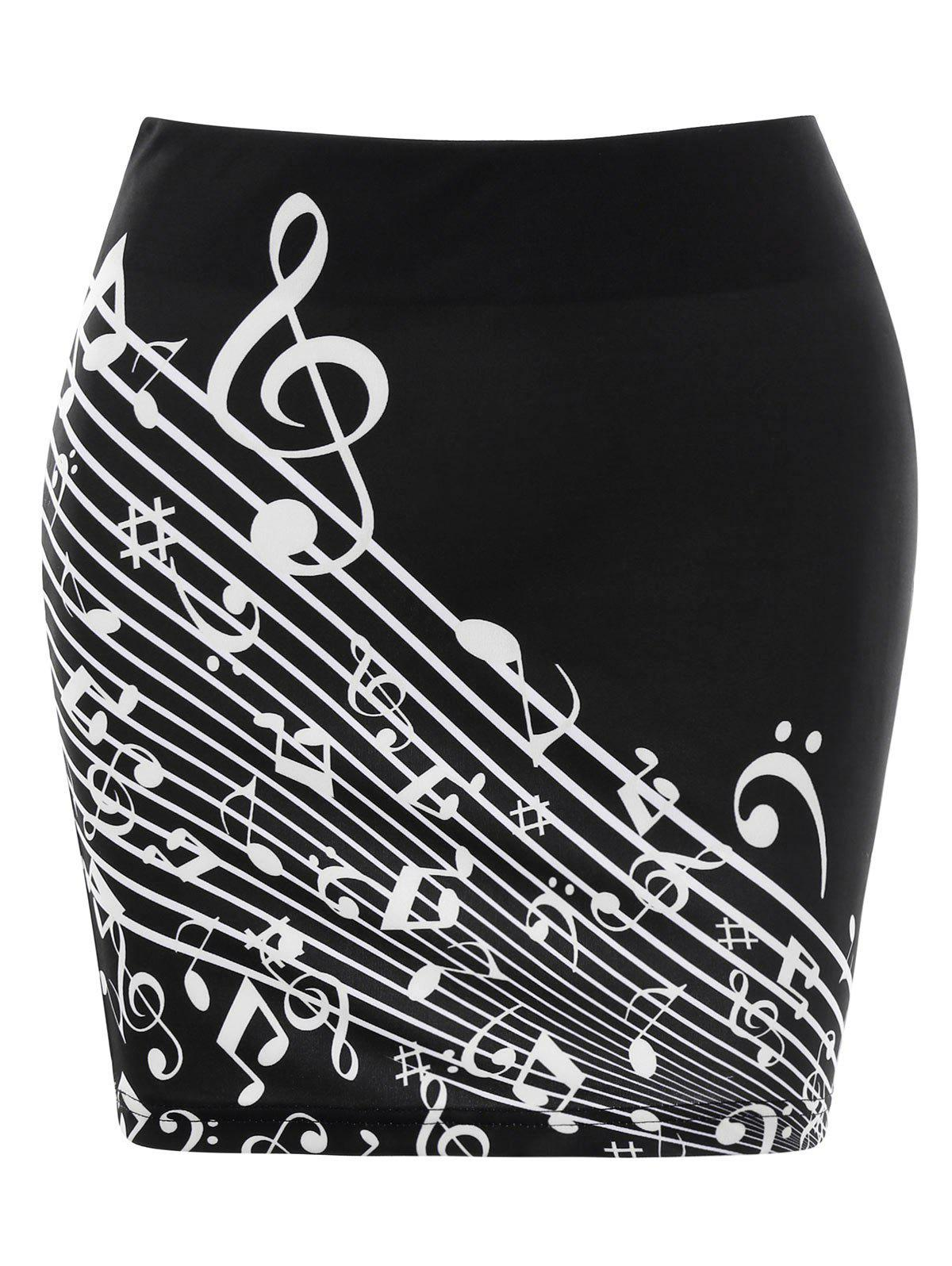 Store Music Note Print Mini Bodycon Skirt
