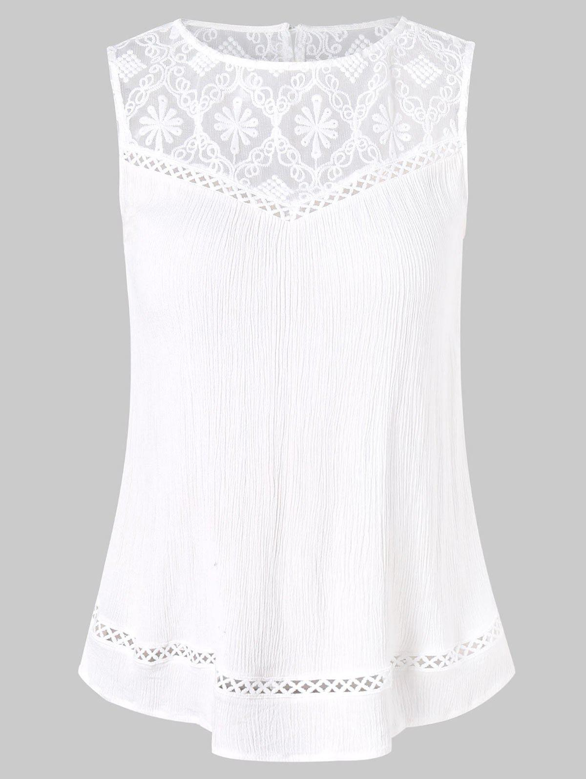 Cheap Back Slit Lace Insert Tank Top