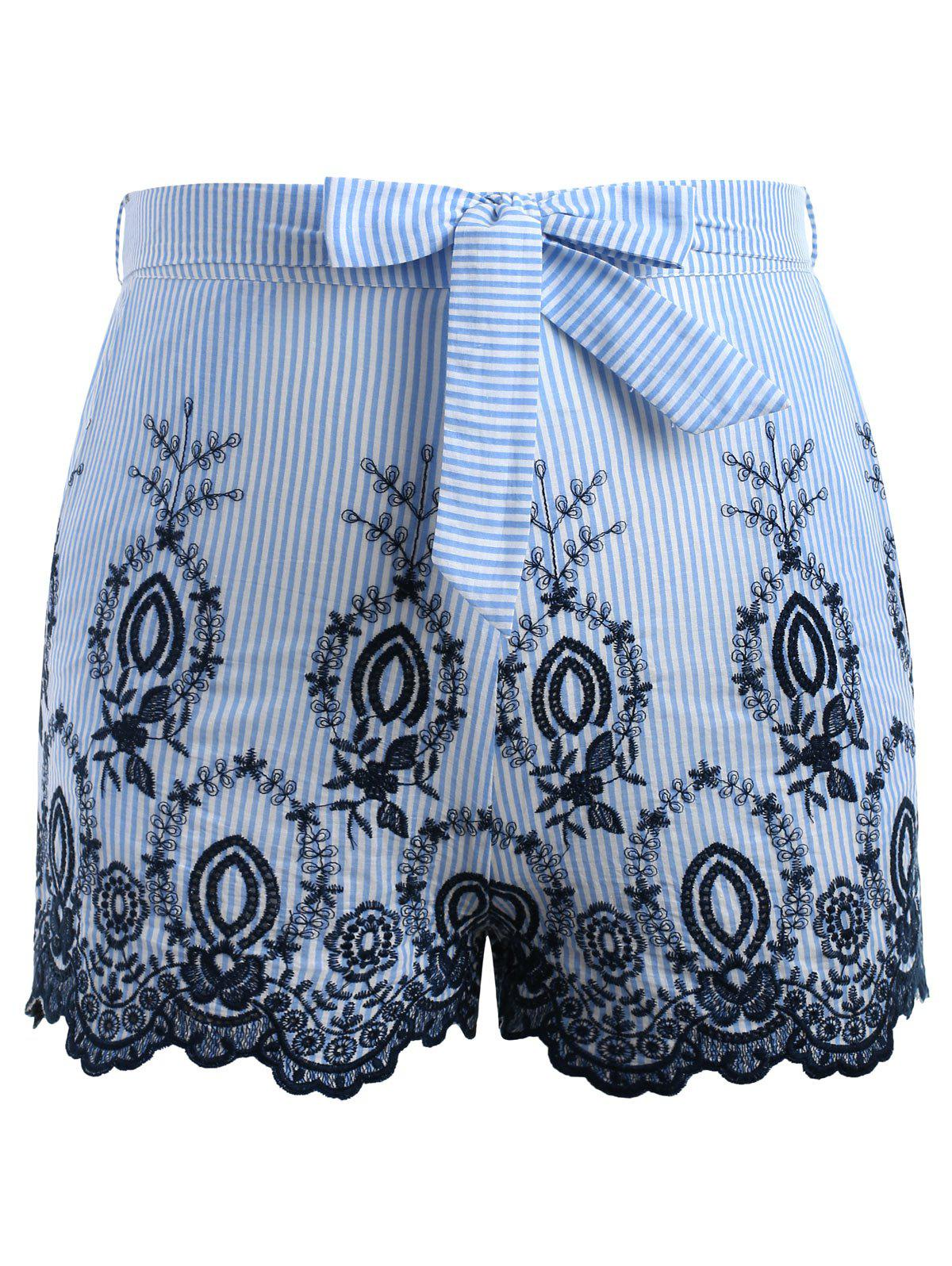 Chic Plus Size Striped Embroidery Shorts With Tie Belt
