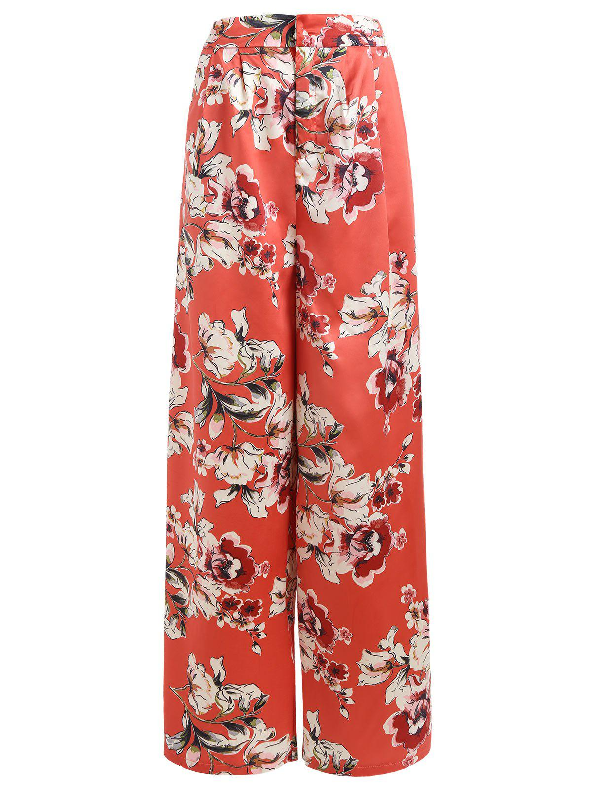 Unique Floral Print Satin Palazzo Pants