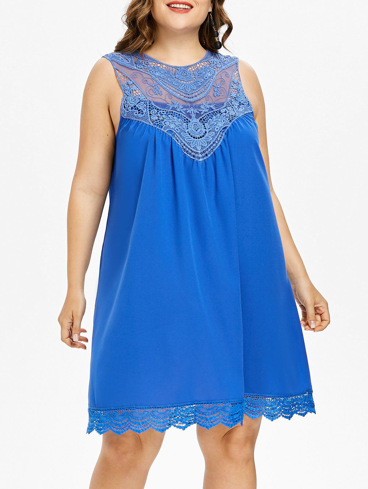 Fashion Plus Size Lace Sleeveless Tunic Dress