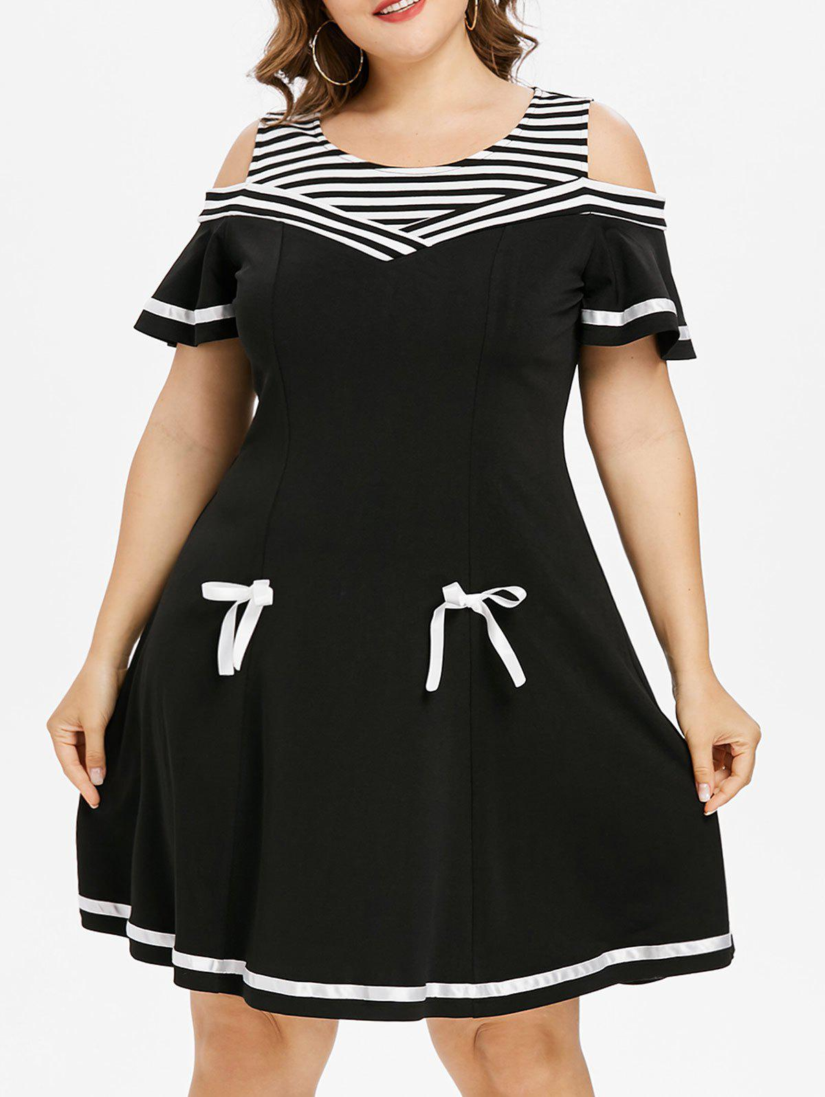 Online Plus Size Cold Shoulder Bell Sleeve Skater Dress