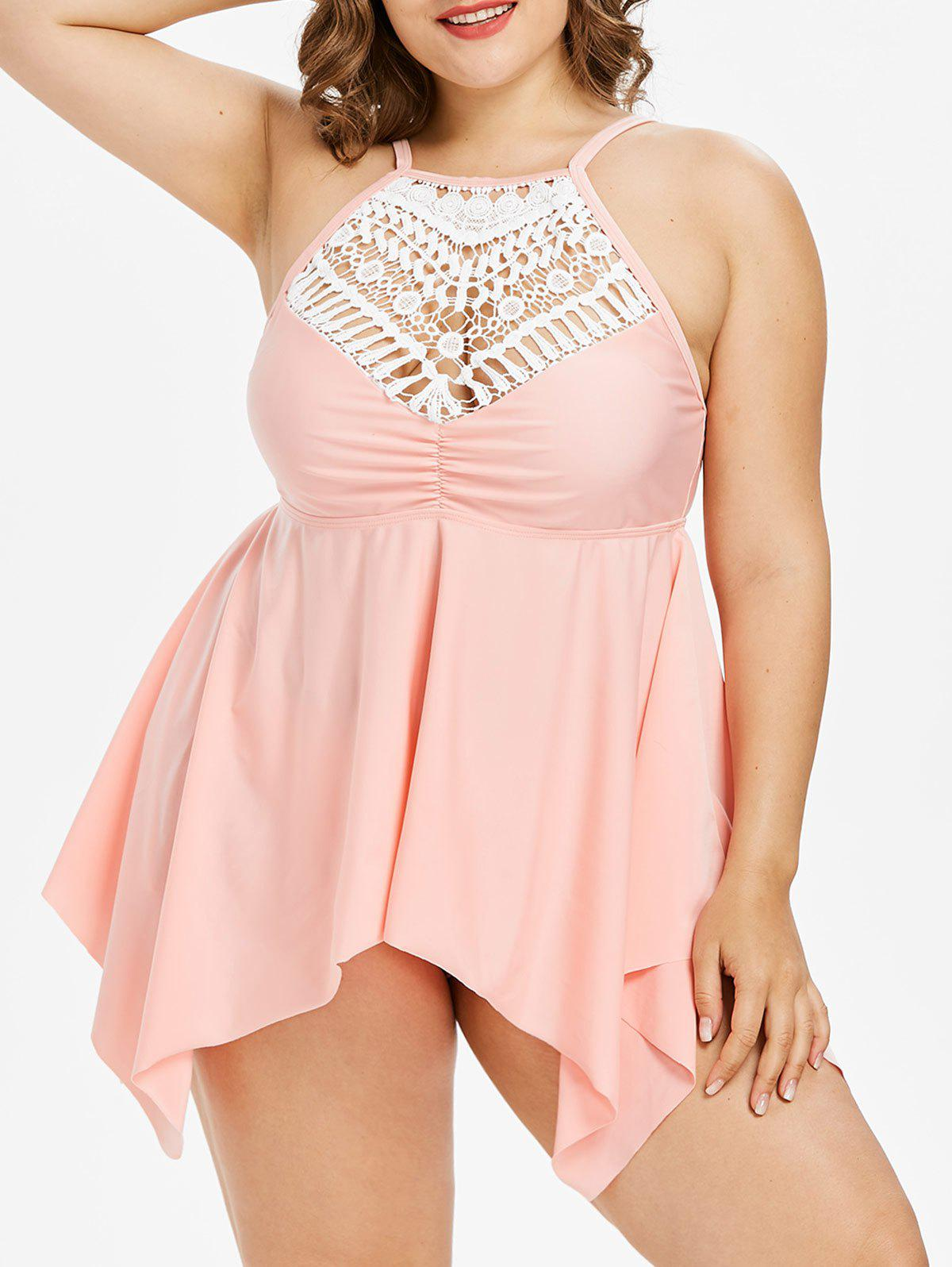 Outfits Crochet Lace Panel Plus Size Handkerchief Tankini
