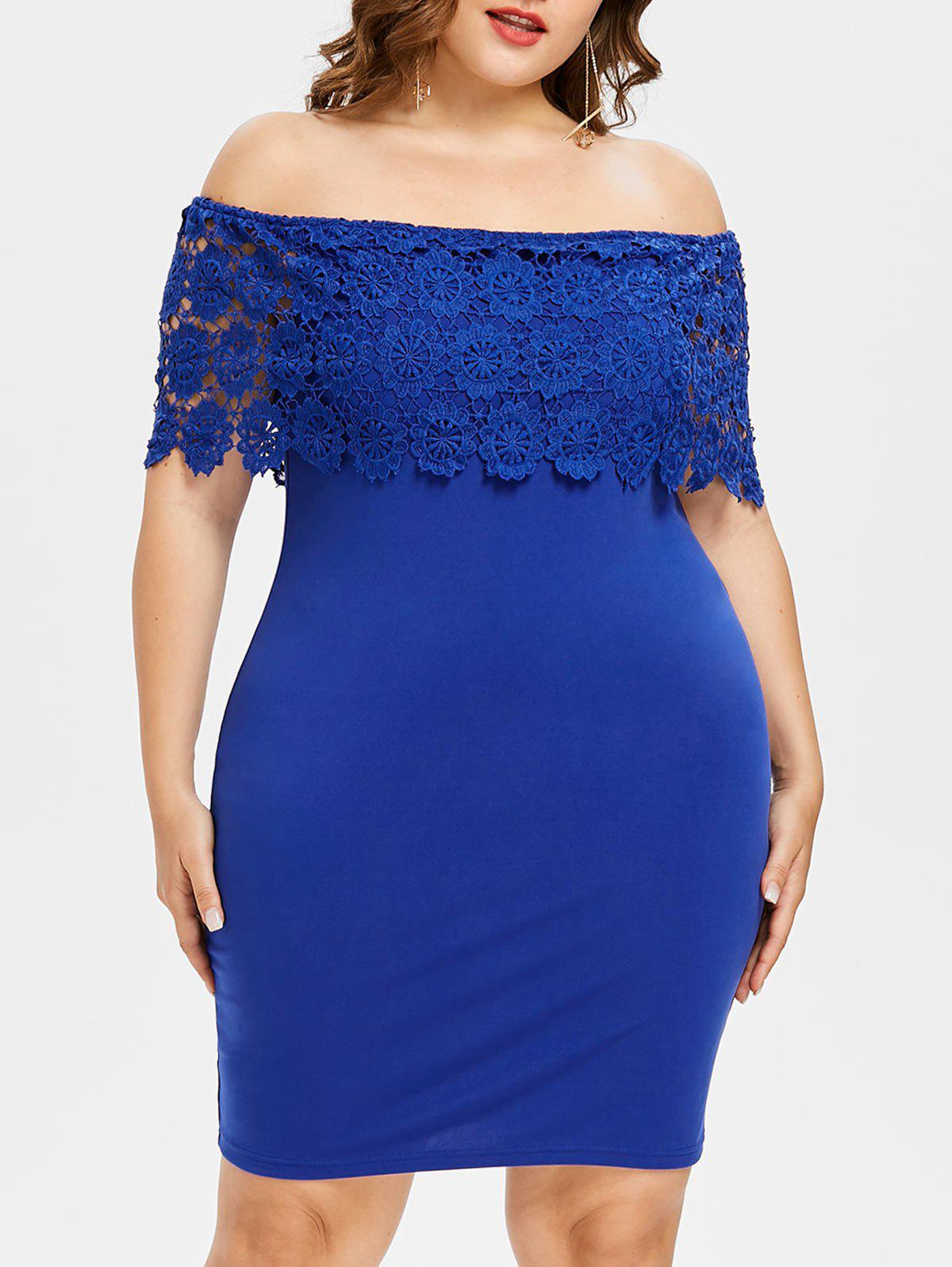 Plus Size Crochet Off Shoulder Dress