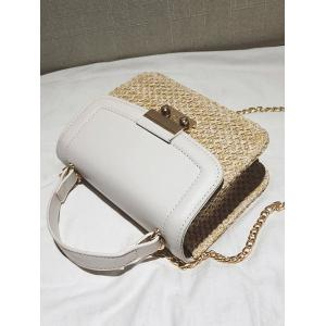 Straw Patchwork Crossbody Chain Bag -