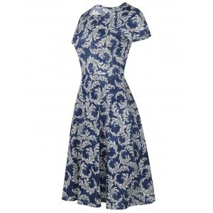 Printed Round Neck Vintage Fit and Flare Dress -